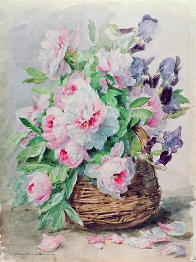 Irises and Peonies in a Basket-Madeleine Lemaire-Giclee Print