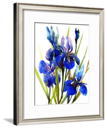 Irises Blue-Suren Nersisyan-Framed Art Print