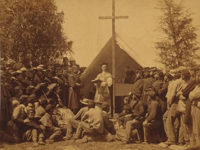 Irish-American Civil War Soldiers Attend Mass in Camp, 1861--Photo