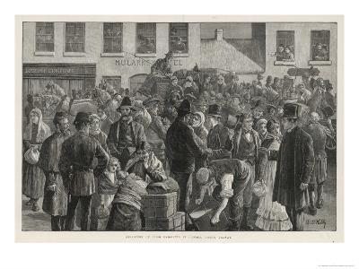 Irish Emigrants Preparing to Sail to America from Clifden County Galway-A. O'kelly-Giclee Print