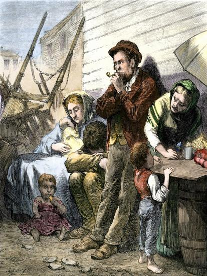 Irish Immigrant Family on a Summer Evening in the Shantytown at the Five Points, New York City--Giclee Print