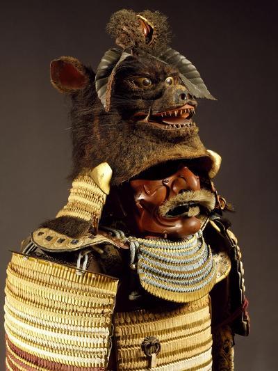 Iroiro Kebiki Odoshi Nimai-Do Gusoku, Samurai Armor with Helmet from Previous Era, Edo Period--Giclee Print