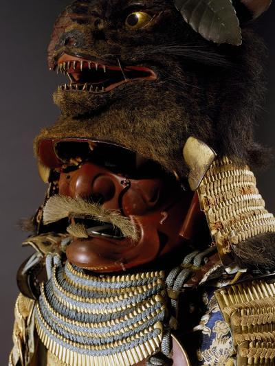 Iroiro Kebiki Odoshi Nimai-Do Gusoku, Samurai Armor with Helmet from Previous Era, Edo Period--Giclee Print