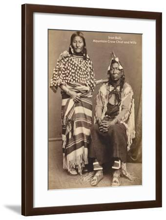 Iron Bull, Mountain Crow Chief, and Wife--Framed Photo
