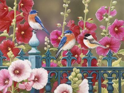 Iron Fence with Hollyhocks-William Vanderdasson-Giclee Print