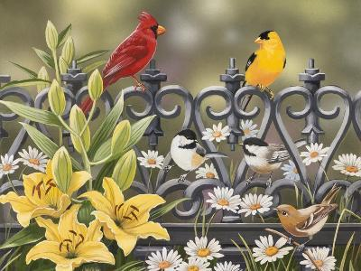 Iron Fence with Lilies-William Vanderdasson-Giclee Print