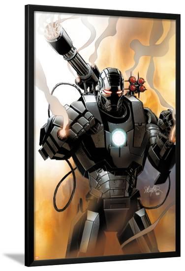 Iron Man 2.0 No.1 Cover: War Machine-Salvador Larroca-Lamina Framed Poster