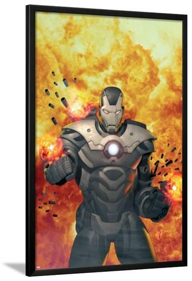Iron Man 2.0 No.7 Cover: War Machine Standing and Flaming-Salvador Larroca-Lamina Framed Poster