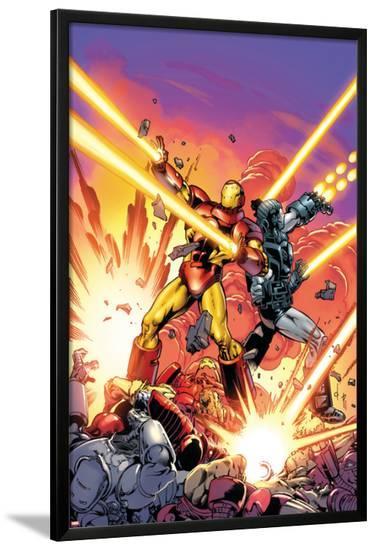 Iron Man #258.4 Cover Featuring Iron Man, War Machine-Dave Ross-Lamina Framed Poster
