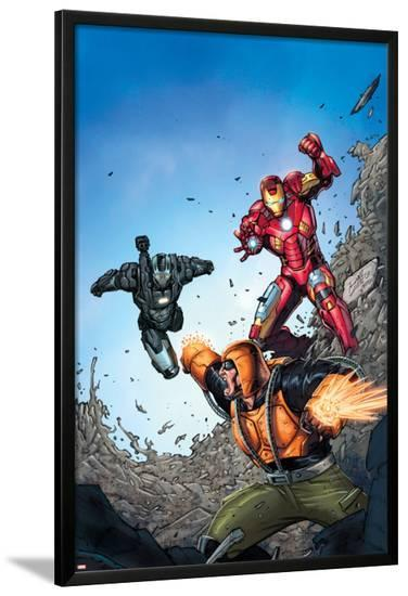 Iron Man: The Coming of the Melter #1 Cover Featuring Iron Man, War Machine, Melter-Ron Lim-Lamina Framed Poster