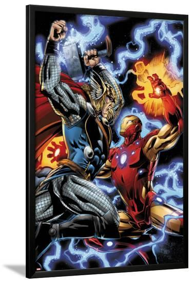 Iron Man/Thor No.3: Thor and Iron Man Fighting-Scot Eaton-Lamina Framed Poster