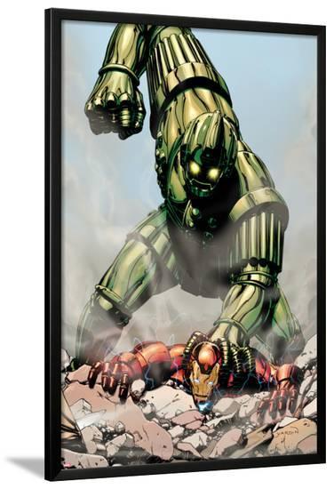 Iron Man: Titanium! No.1 Cover: Iron Man and Titanium Man Fighting-David Yardin-Lamina Framed Poster