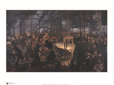 Iron Rolling Mill-Adolph Menzel-Art Print