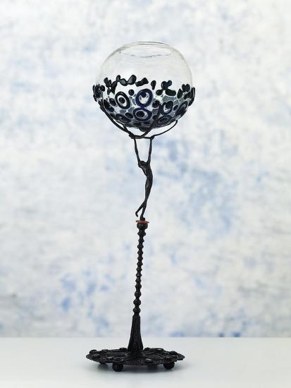 Iron Sculpture with Glass Paste Set in the Base and at the Top--Giclee Print