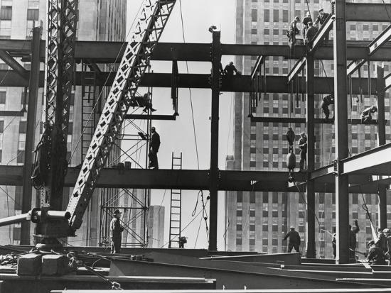 Iron Workers Raise Steel at 32nd Floor of the Esso Building in New York  City, 1954 Photo by   Art com