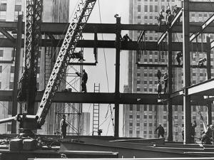 Iron Workers Raise Steel at 32nd Floor of the Esso Building in New York City, 1954
