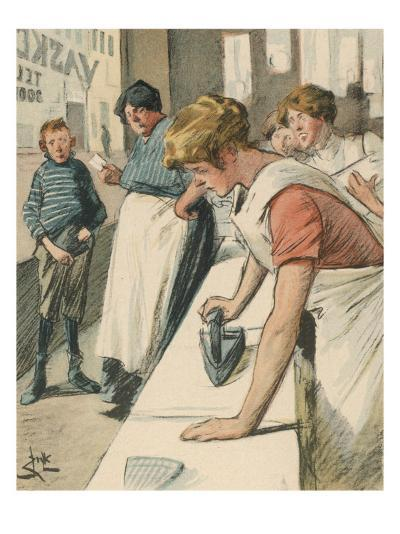 Ironing in the Public Laundry--Giclee Print