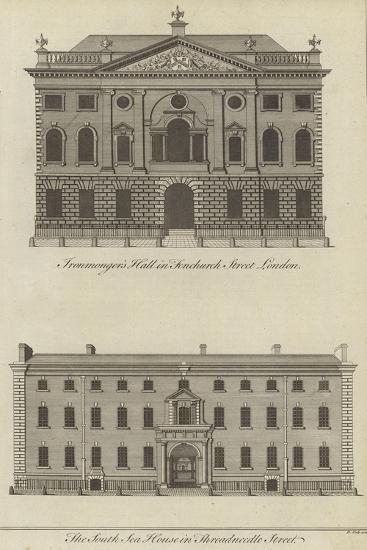 Ironmongers' Hall, Fenchurch Street and the South Sea House, Threadneedle Street, London--Giclee Print