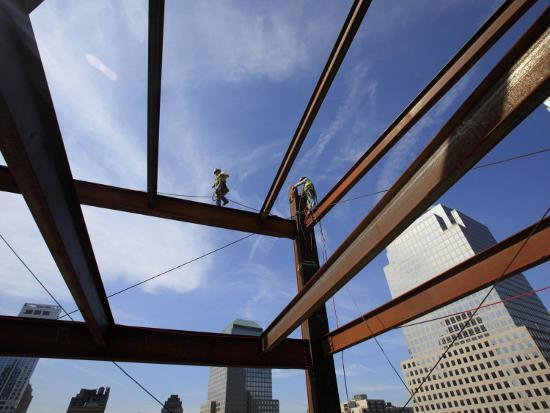 Ironworker Walks a Beam Above the 24th Floor of One World Trade Center in New York--Photographic Print