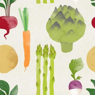 Cute Seamless Vegetable Pattern on Paper Background. Fruity Patterns Collection