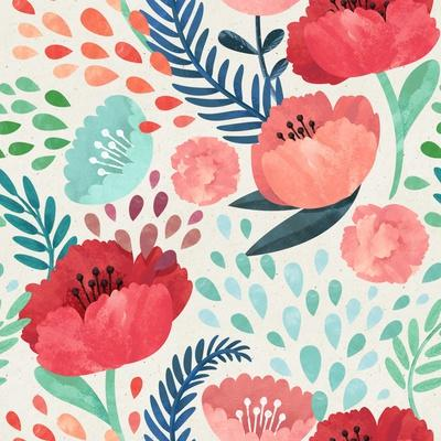Seamless Hand Illustrated Floral Pattern on Paper Texture. Watercolor Botanical Background