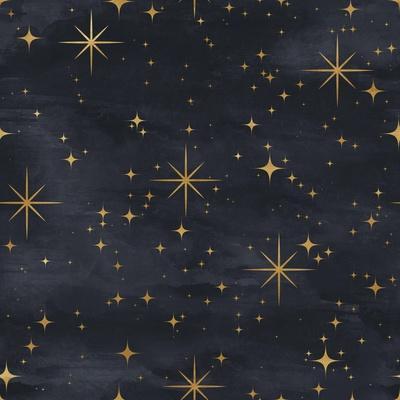 Seamless Night Sky Pattern. Elegant Stars Background