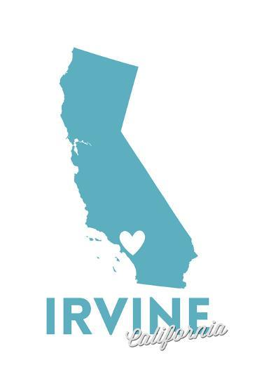 Irvine, California - State Outline and Heart-Lantern Press-Art Print