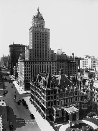 Aerial View of the Crown Building and Vanderbilt Mansion, New York