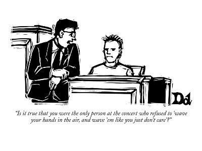 """""""Is it true that you were the only person at the concert who refused to 'w?"""" - New Yorker Cartoon-Drew Dernavich-Premium Giclee Print"""