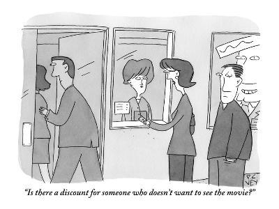 """""""Is there a discount for someone who doesn't want to see the movie?"""" - New Yorker Cartoon-Peter C. Vey-Premium Giclee Print"""