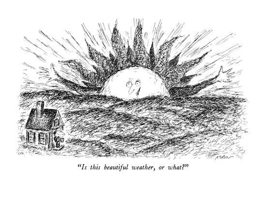 """Is this beautiful weather, or what?"" - New Yorker Cartoon-Edward Koren-Premium Giclee Print"