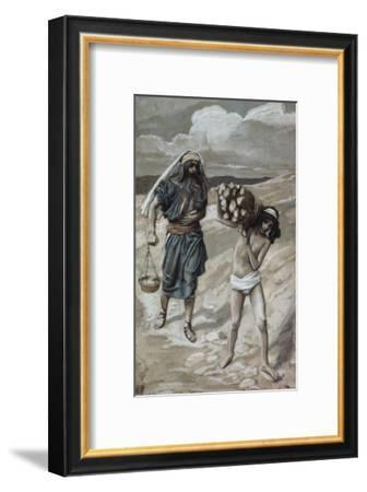 Isaac Bears the Wood For His Sacrifice-James Tissot-Framed Giclee Print