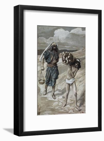 Isaac Bears the Wood For His Sacrifice-James Tissot-Framed Giclee Print