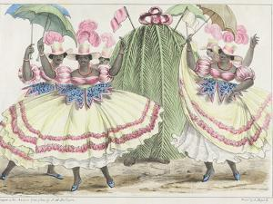 Red-Set Girls and Jack-In-The-Green, Plate 2 from 'sketches of Character...', 1838 (Colour Litho) by Isaac Mendes Belisario
