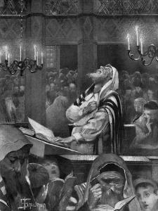 Scene at a Synagogue, the Great Day of Atonement, 6th October 1897 by Isaac Snowman
