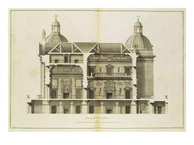 Houghton Hall: Cross-Section of the Hall and Salon, Engraved by Pierre Fourdrinier, 1735