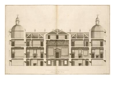 Houghton Hall: Section of the West front, Engraved by Pierre Fourdrinier, 1735