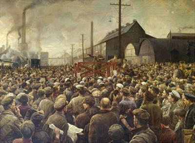 Lenin Speaking to Workers of the Poutilov Factory, 1917 by Isaak Brodsky