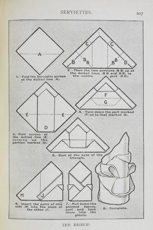Instructions For Folding a Serviette Into the 'Bishop' Shape