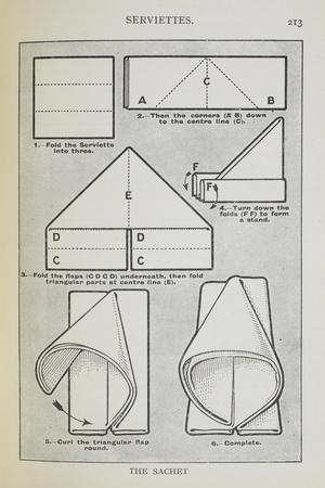 Instructions For Folding a Serviette Into the 'sachet' Shape