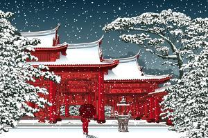 Japanese or Chinese Temple under Snow - Vector Illustration by isaxar