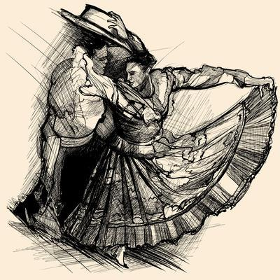 Vector Illustration of a Latino Dance Drawing