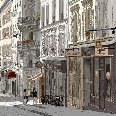 Vector Illustration of a Street in Montmartre Paris