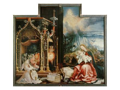 Isenheimer Altar. Inner Center Panel: Angel Concert and Nativitiy-Matthias Gr?newald-Giclee Print