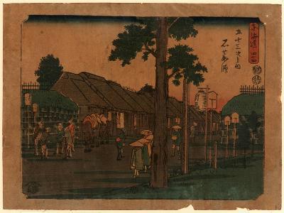 Ishiyakushi, Print Shows Travelers on Village Street with Many Buildings 1797-1858, Artist--Giclee Print