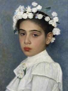 Girl with Flowers in Her Hair by Isidor Kaufmann