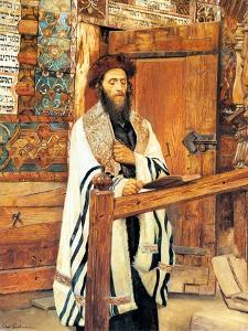 Rabbi in Front of the Wooden Synagogue Jablonow by Isidor Kaufmann