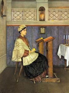 Young Woman in Synagogue by Isidor Kaufmann