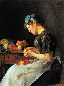Young Woman Peeling Apples by Isidor Kaufmann