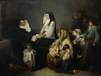 The sick and the poor come to pray, as sister Saint-Prosper lies in state on August 39, 1846